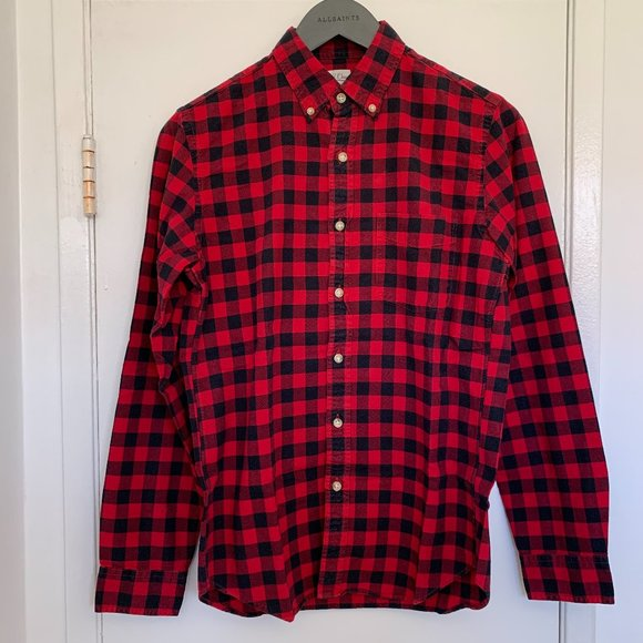 Pre-owned Men's J Crew Buffalo Plaid Flannel Shirt Size Small